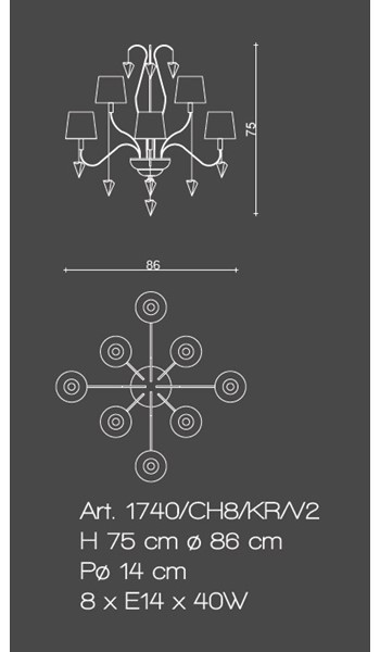 1740/CH8/KR/V2 Chandeliers Classic